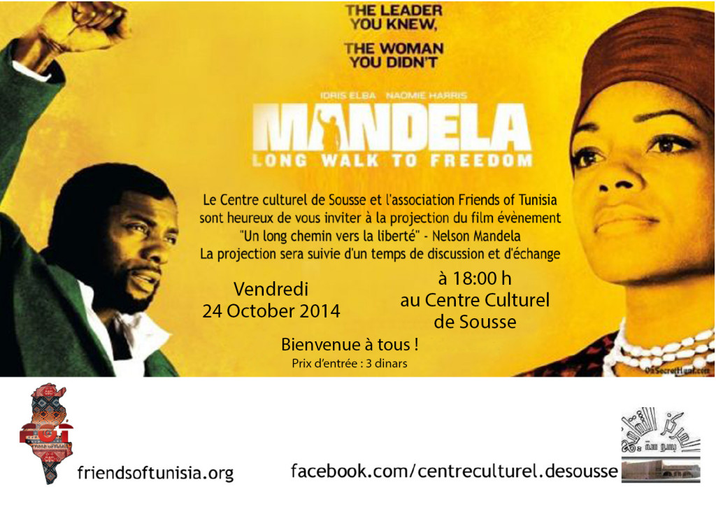 "Come and watch the Nelson Mandela movie "" Long walk to freedom"" It will be a presenattion of the Nelson Mandela projects in Tunisia and how you can join it. Please share this with your friends"