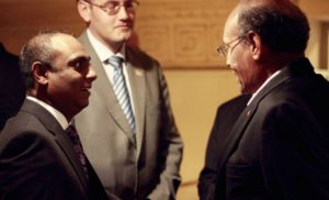 Nilesh Singh, Graeme Bradley (First Secretary Political – SA embassy in Tunis) and President Moncef Marzouki of Tunisia